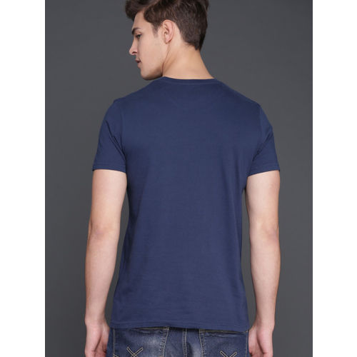 WROGN Men Navy Printed Round Neck T-shirt