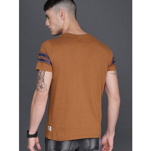 WROGN Men Rust Striped Round Neck T-shirt