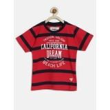 RUFF Boys Red & Navy Blue Striped Printed T-Shirt