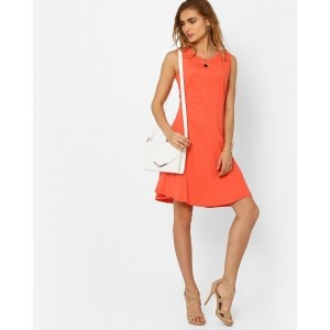 AJIO Coral Jersey Swing Dress