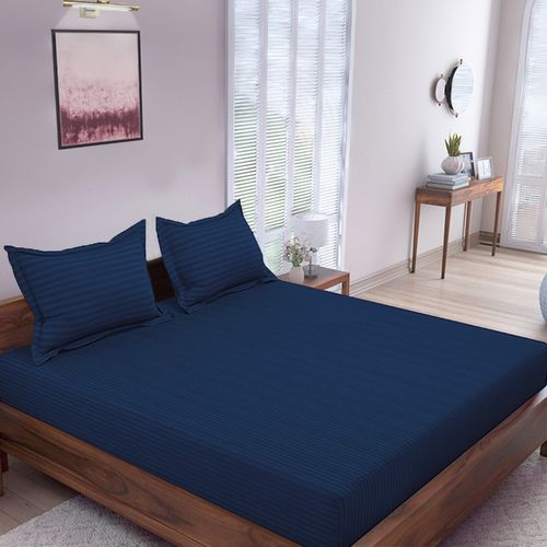 Flipkart Perfect Homes 300 TC Cotton Double King Striped Bedsheet(Pack of 1, Royal Blue)