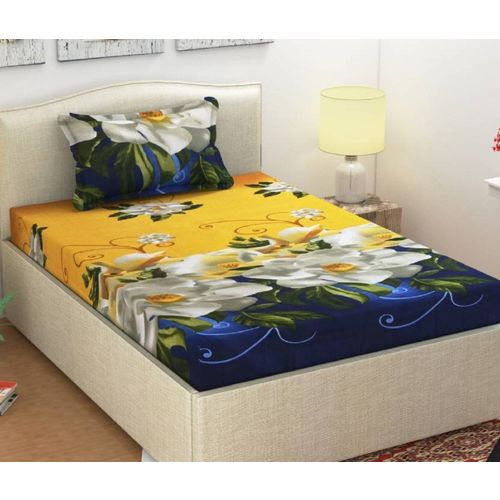 FRC Decor 104 TC Microfiber Single Floral Bedsheet(Pack of 1, Gold)