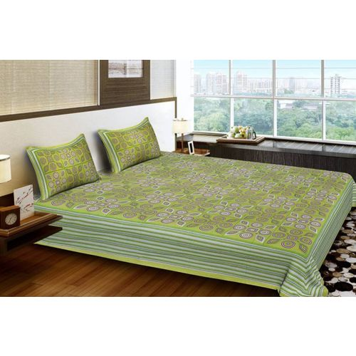 Bombay Cotton 120 TC Cotton Double Geometric Bedsheet(Pack of 1, Green)