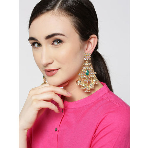 Zobby Green Gold-Plated Handcrafted Classic Drop Earrings