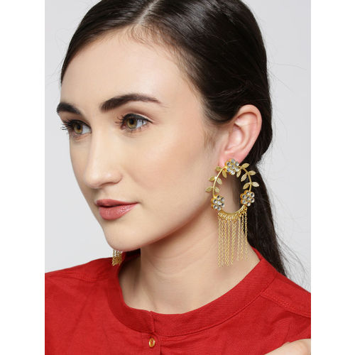 Zobby Gold-Plated Stone-Studded & Tasselled Handcrafted Floral Drop Earrings