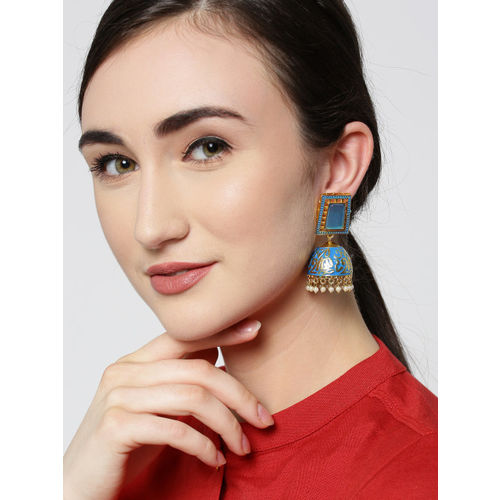 Zobby Blue Gold-Plated Stone-Studded & Enamelled Handcrafted Dome Shaped Jhumkas