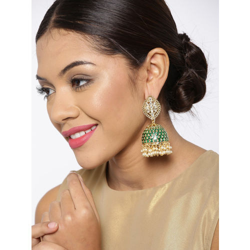Zobby Green Gold-Plated Kundan Dome-Shaped Handcrafted Jhumkas