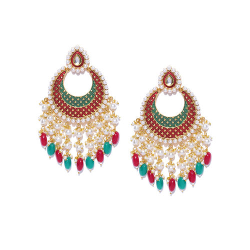 Zobby Red & Green Gold-Plated Beaded Crescent-Shaped Handcrafted Chandbalis
