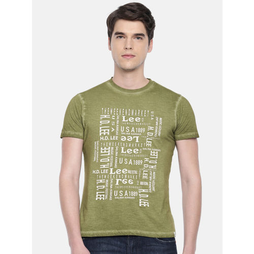 Lee Men Olive Green Printed Round Neck T-shirt
