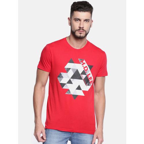 Lee Men Red Printed Round Neck T-shirt