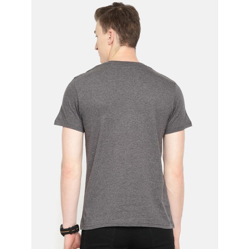 Lee Men Grey Printed Slim Fit Round Neck T-shirt