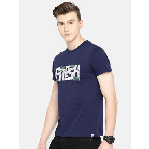 Lee Men Navy Blue Printed Slim Fit Round Neck T-shirt