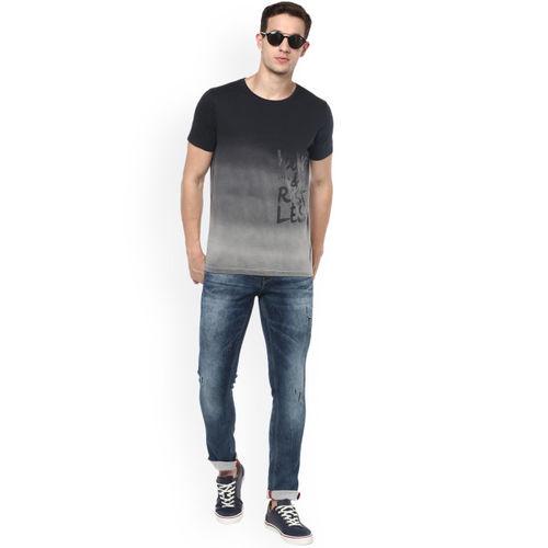 SPYKAR Men Grey & Black Dyed Slim Fit Round Neck T-shirt