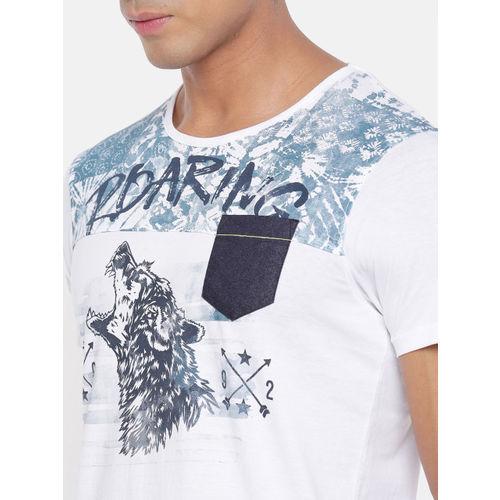 SPYKAR Men White Printed Round Neck T-shirt