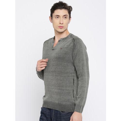 SPYKAR Men Grey Solid Round Neck T-Shirt