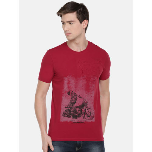 SPYKAR Men Red Printed Round Neck T-shirt