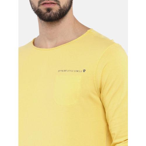 SPYKAR Men Yellow Solid Round Neck T-shirt