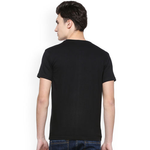 People Men Black Printed Round Neck T-shirt