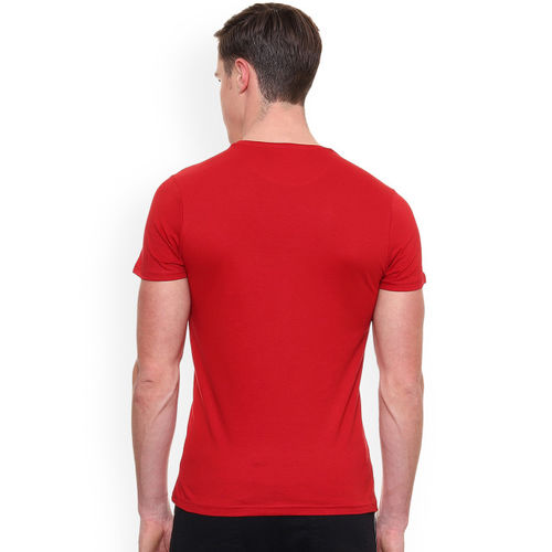 People Men Red Printed Round Neck T-shirt