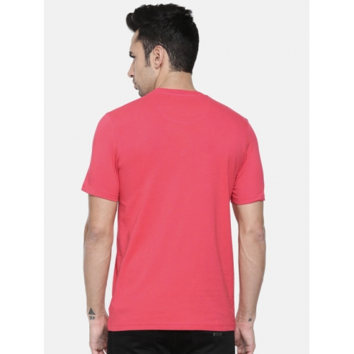 Park Avenue Pink Cotton Printed Round Slim Fit T-shirt