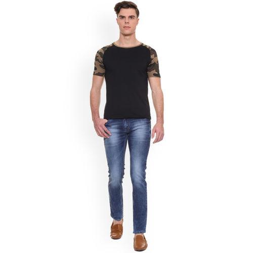 People Men Black Printed Round Neck T-shirt