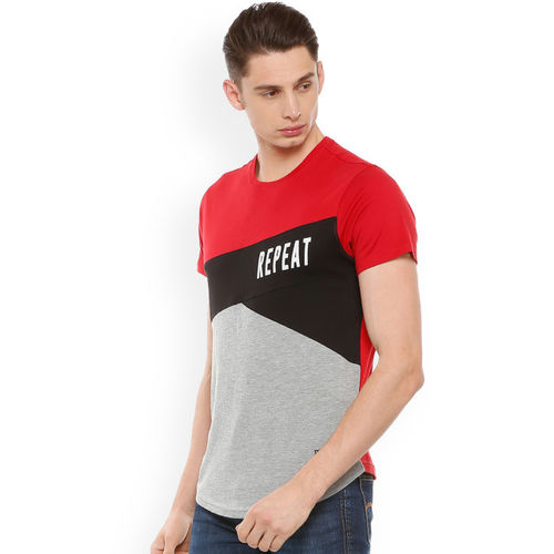 People Men Red & Grey Colourblocked Round Neck T-shirt