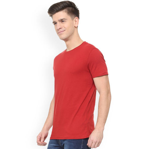 People Men Maroon Solid Round Neck T-shirt