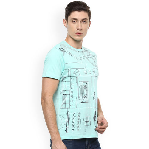 People Men Blue Printed Round Neck T-shirt