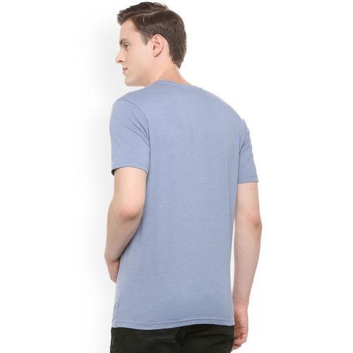 People Men Blue Printed Round Neck T-shirt