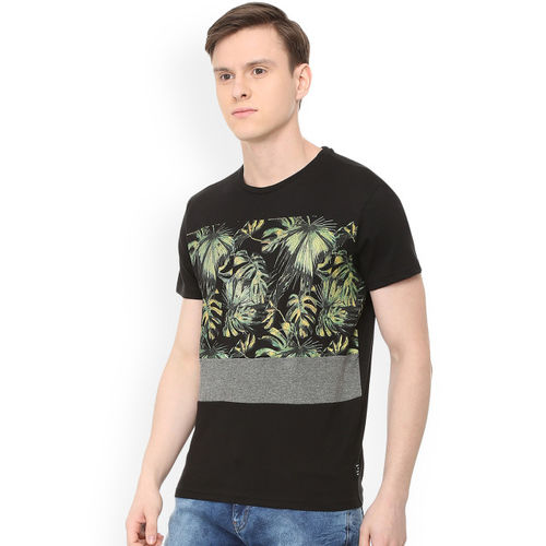 People Black Cotton Floral Round Neck T-shirt