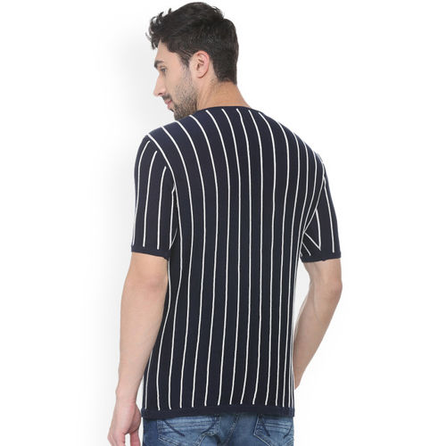 People Men Navy Blue & White Striped Round Neck T-shirt
