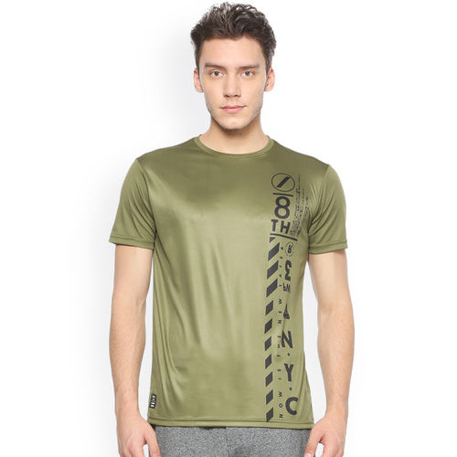 People Men Olive Green Printed Round Neck T-shirt