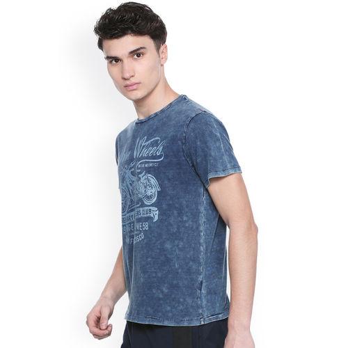 People Men Navy Blue Printed Round Neck T-shirt