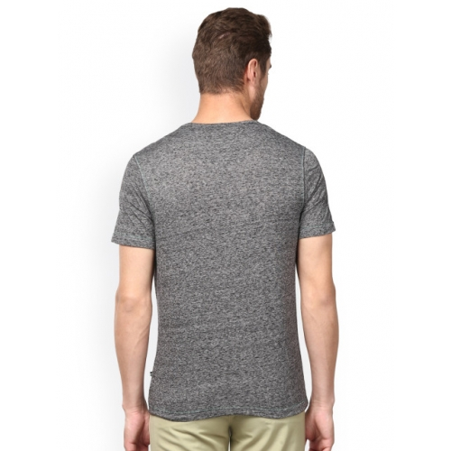 Park Avenue Grey Polyester Solid Round Neck T-shirt
