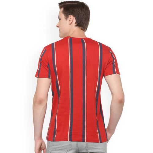 People Men Red Striped Round Neck T-shirt P1C109319BRV101