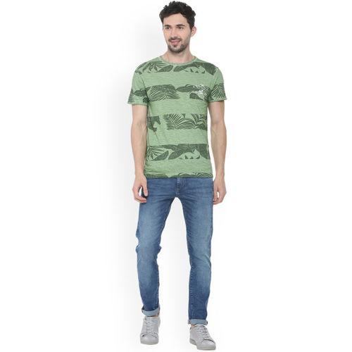 People Men Green Printed Round Neck T-shirt