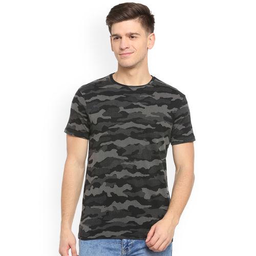 People Men Grey Printed Round Neck T-shirt