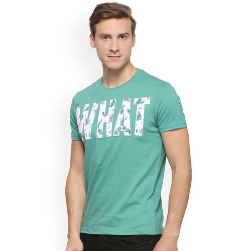 People Men Teal Self Design Round Neck T-shirt