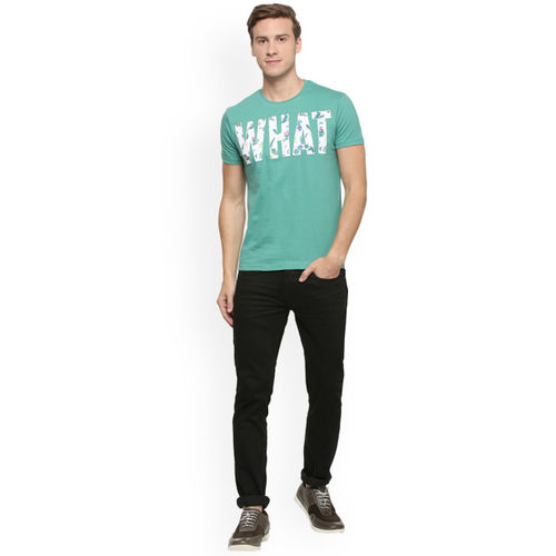 People Men Teal Self Design Round Neck T-shirt