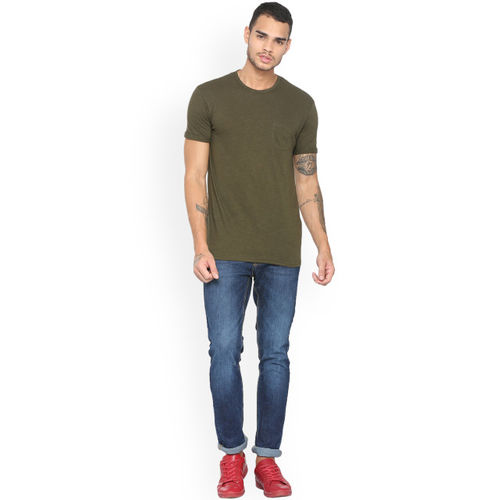 People Men Olive Green Solid Round Neck T-shirt