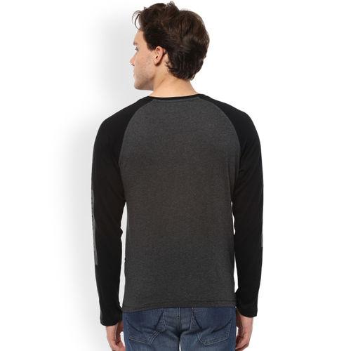 People Men Grey Solid Round Neck T-shirt