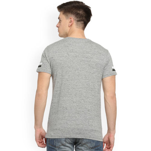 People Men Grey Printed Round Neck T-shirt