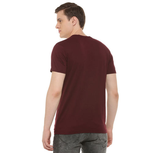 People Men Maroon Printed Round Neck T-shirt