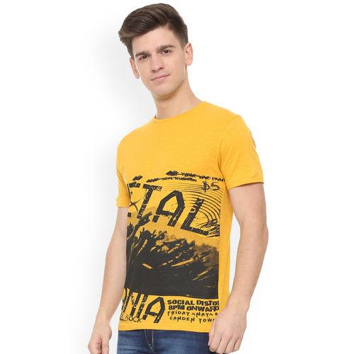 People Men Yellow Printed Round Neck T-shirt
