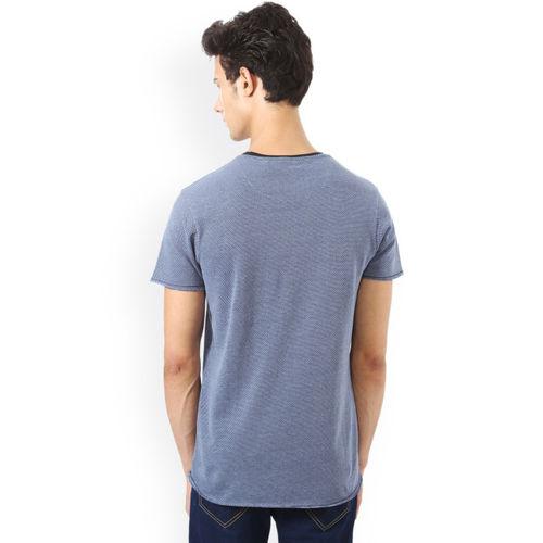 People Men Blue Self-Design Round Neck T-shirt