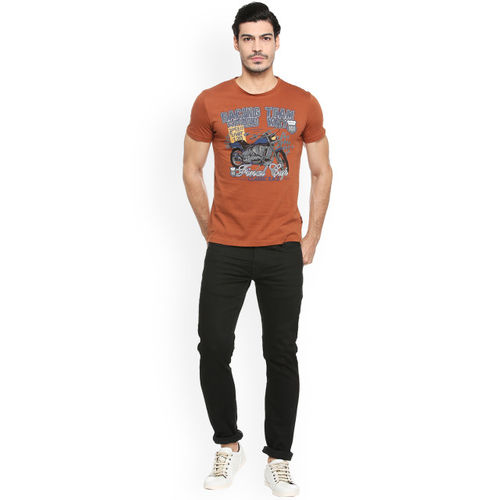 People Men Orange Printed Round Neck T-shirt
