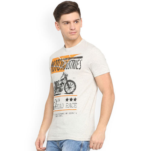 People Men Off-White Printed Round Neck T-shirt