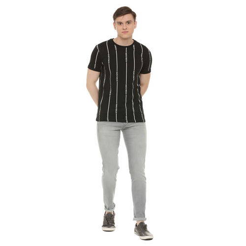 People Men Black Striped Round Neck T-shirt