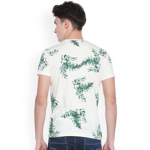 People Men White Printed Round Neck T-shirt