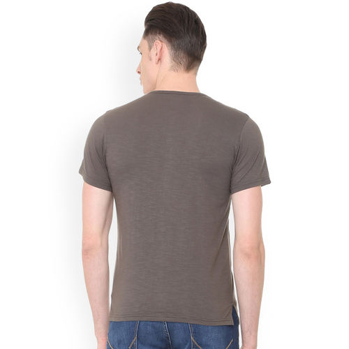 People Men Taupe Printed Round Neck T-shirt